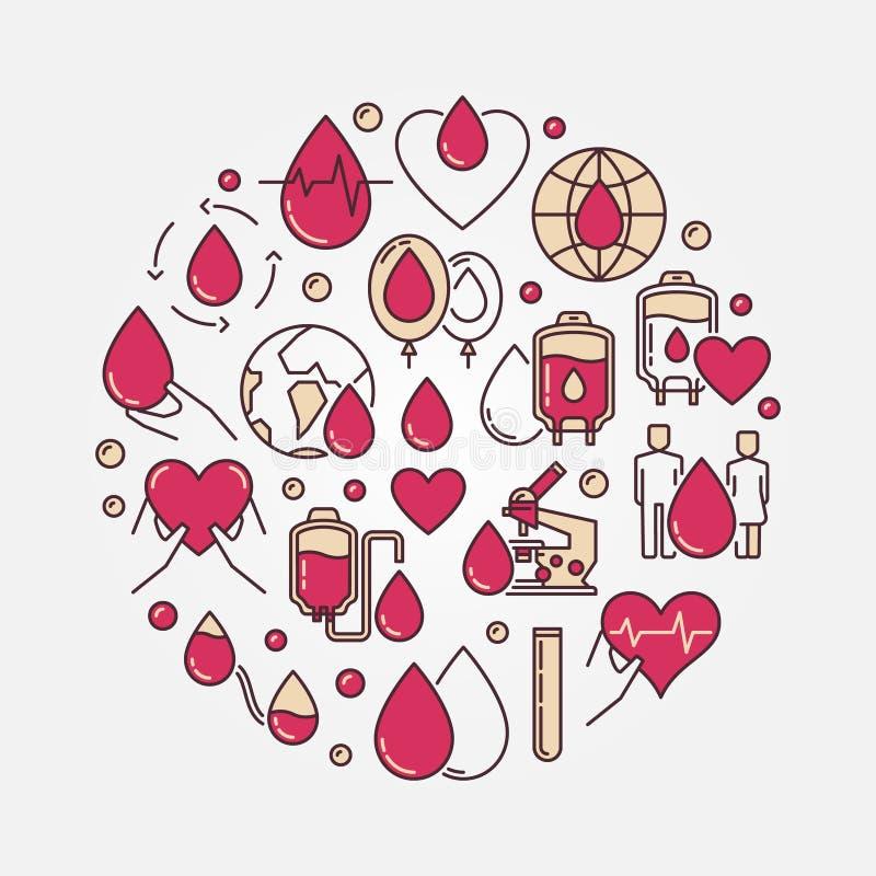 Muestra circular plana de la donación de sangre stock de ilustración