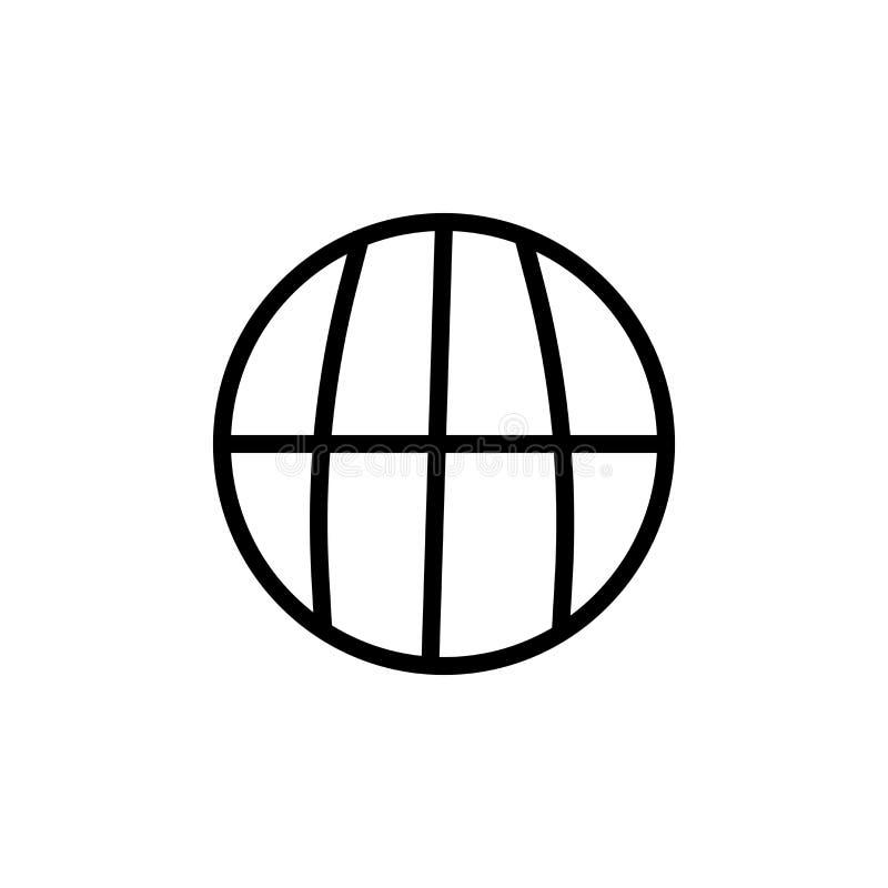 Muestra circular y símbolo del vector del icono del símbolo de la rejilla del planeta aislados en el fondo blanco, concepto circu ilustración del vector