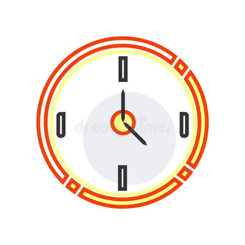 Muestra circular y símbolo del vector del icono del reloj aislados en el CCB blanco libre illustration