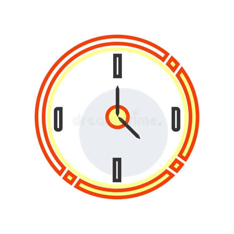 Muestra circular y símbolo del vector del icono del reloj aislados en el fondo blanco, concepto circular del logotipo del reloj stock de ilustración