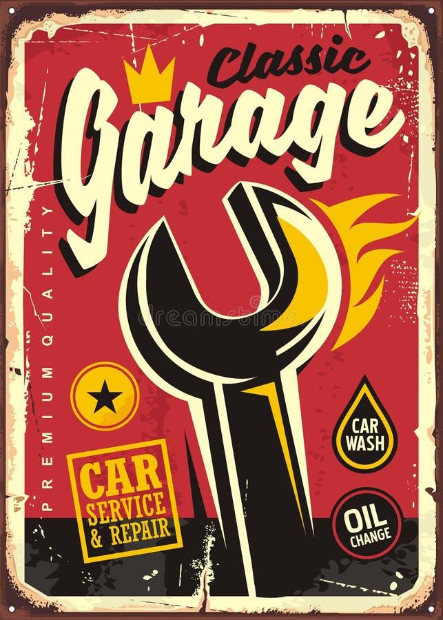Muestra clásica del vintage del garaje stock de ilustración