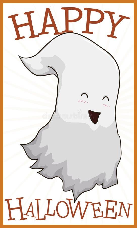 Muestra con el fantasma feliz que celebra Halloween, ejemplo del vector ilustración del vector
