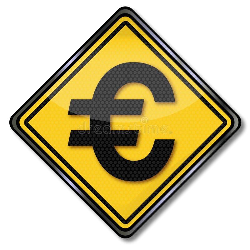 Muestra con la moneda euro ilustración del vector