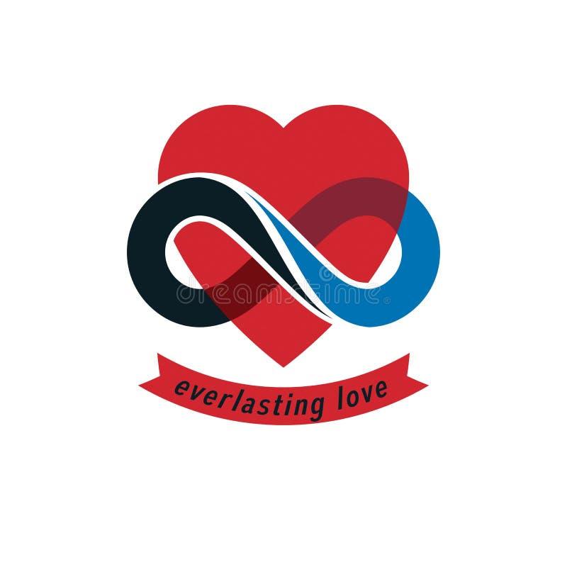 Muestra conceptual del amor eterno, símbolo del vector creado con infinito stock de ilustración