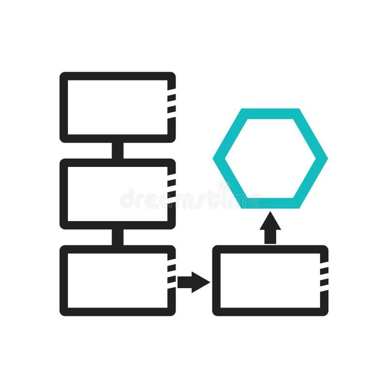 Muestra conectada y símbolo del vector del icono de la carta del flujo de datos aislados en el fondo blanco, concepto conectado d ilustración del vector