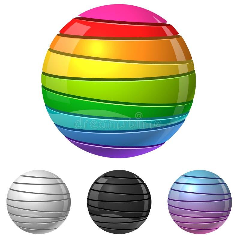 Muestra cortada colorida de la esfera stock de ilustración