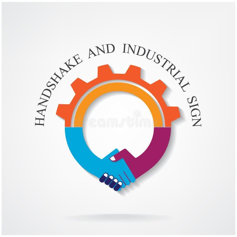 Muestra creativa del apretón de manos y concepto industrial de la idea stock de ilustración