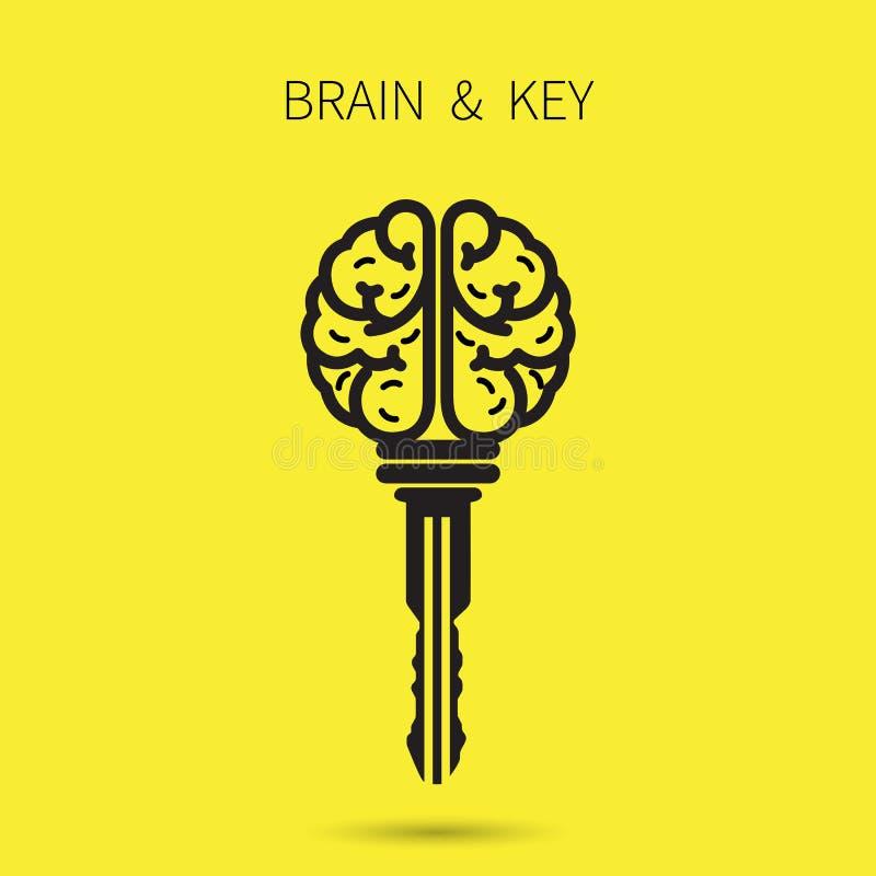 Muestra creativa del cerebro con el símbolo dominante Clave del éxito Negocio ilustración del vector