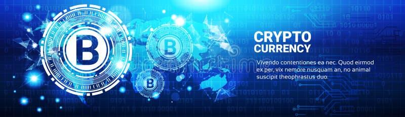 Muestra Crypto de Bitcoin del concepto de la moneda en mapa del mundo azul libre illustration