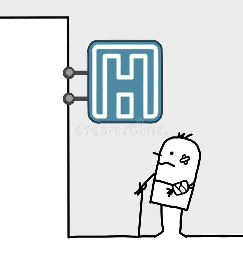 Muestra dañada del hombre y del hospital libre illustration