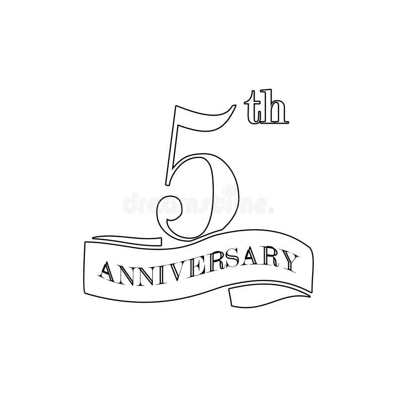 muestra de 5 aniversarios Elemento del ejemplo del aniversario Icono superior del dise?o gr?fico de la calidad Muestras e icono d ilustración del vector