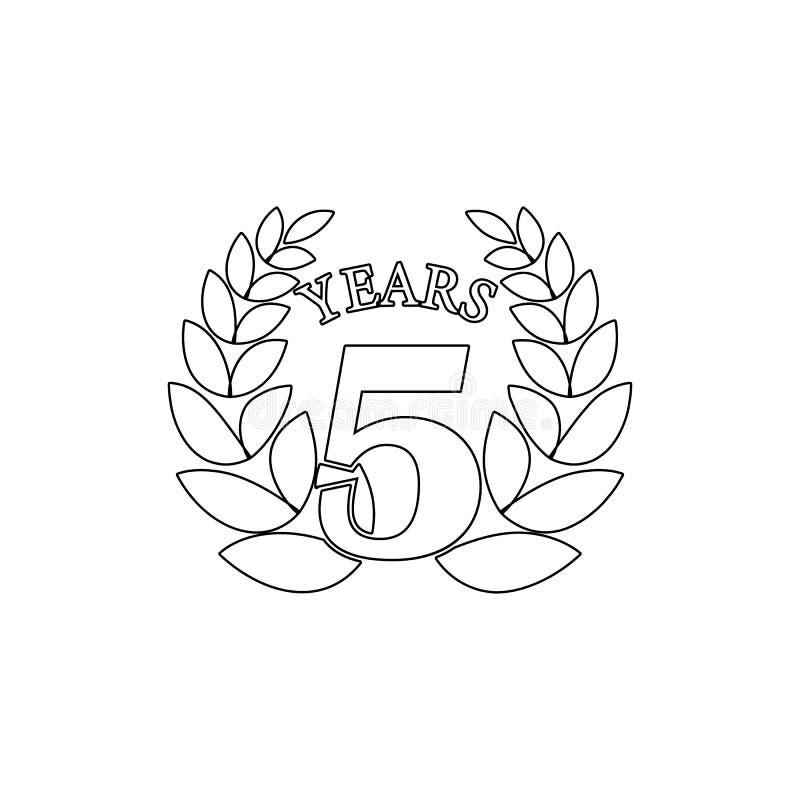 muestra de 5 aniversarios Elemento del ejemplo del aniversario Icono superior del dise?o gr?fico de la calidad Muestras e icono d stock de ilustración
