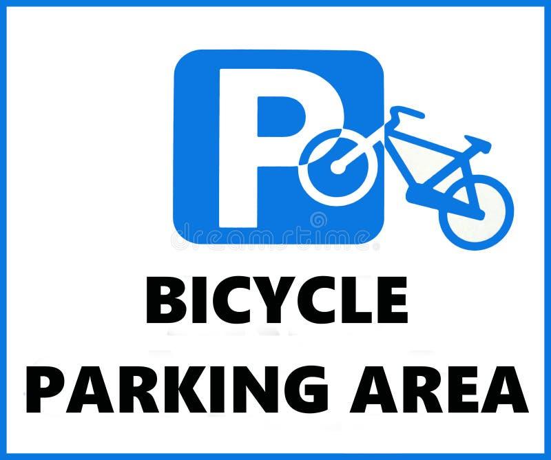 Muestra de aparcamiento de la bicicleta, con la silueta de una bici sobrepuesta en la señal que parquea europea tradicional azul ilustración del vector