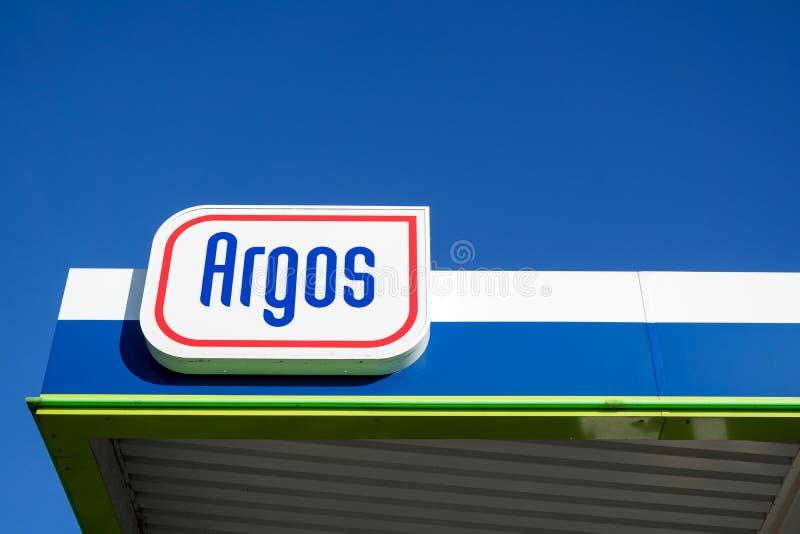 Muestra de Argos en la gasolinera foto de archivo libre de regalías