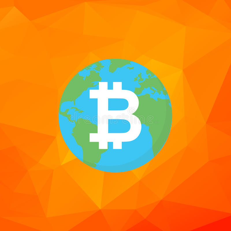 Muestra de Bitcoin Bitcoin en vector plano de la tierra Éxito del cryptocurrency de Digitaces ilustración del vector