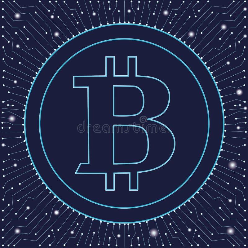 Muestra de Bitcoin, icono para el dinero de Internet Símbolo de moneda e imagen Crypto de la moneda para usar en proyectos Web Ve ilustración del vector