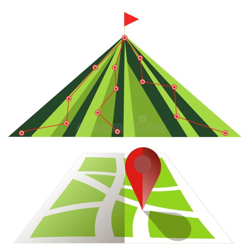 Muestra de caminar la pista en la montaña, mapa con el indicador en el diseño plano blanco libre illustration