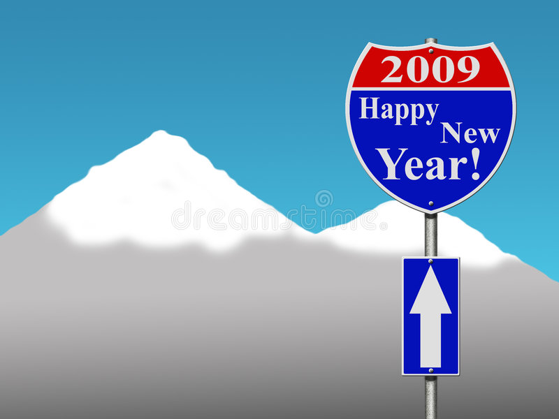 Muestra de camino de la Feliz Año Nuevo fotografía de archivo