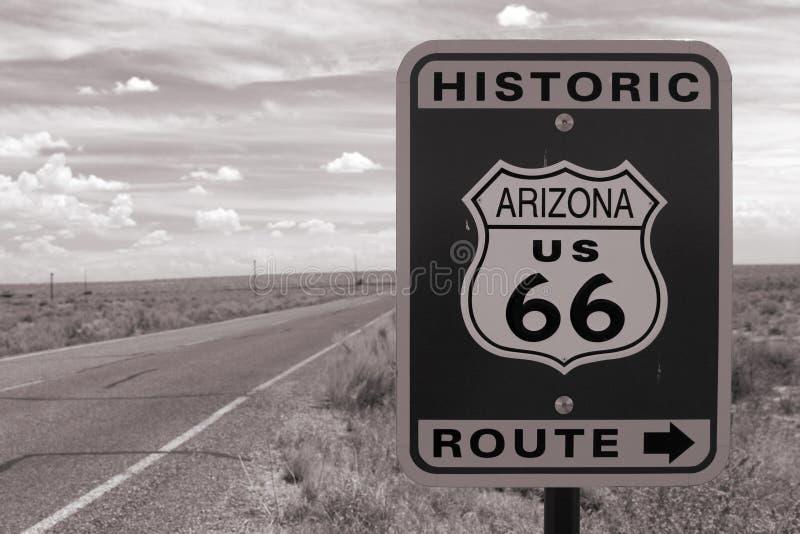 Muestra de camino de la ruta 66 foto de archivo libre de regalías