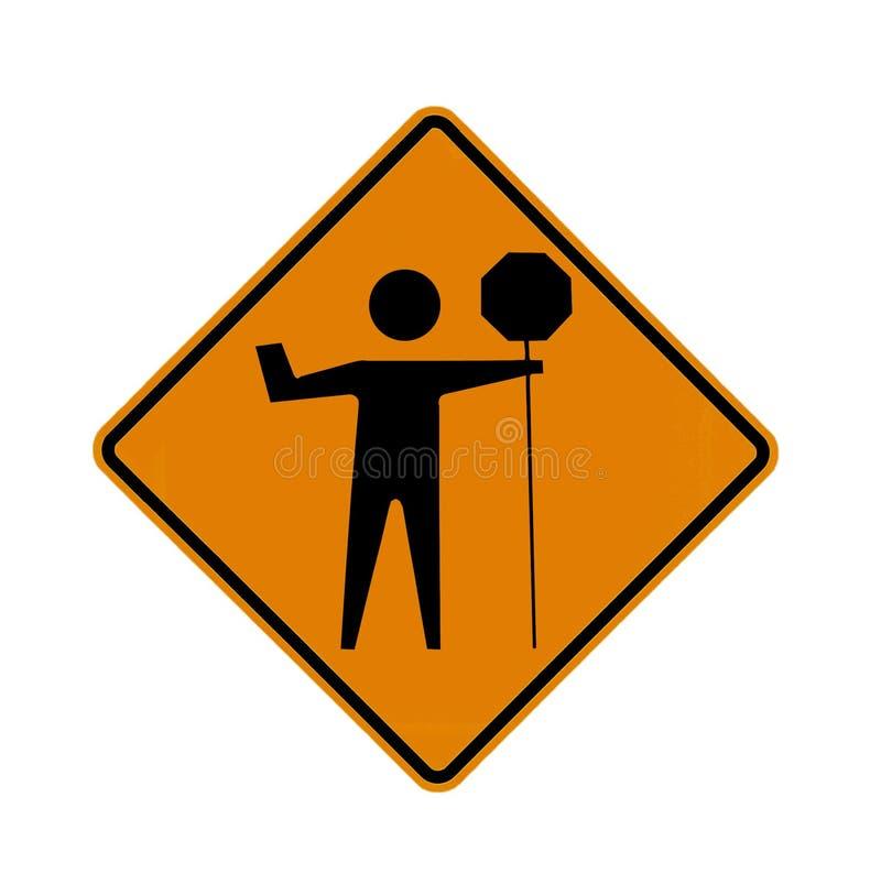 Muestra de camino - persona que hace señales con una bandera imagenes de archivo