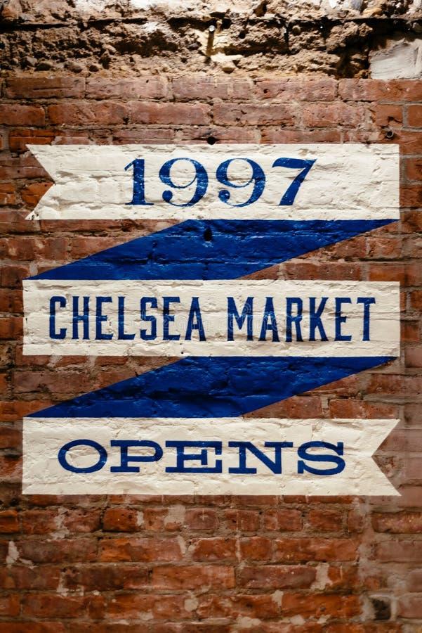 Muestra de Chelsea Market en la pared en Nueva York foto de archivo libre de regalías