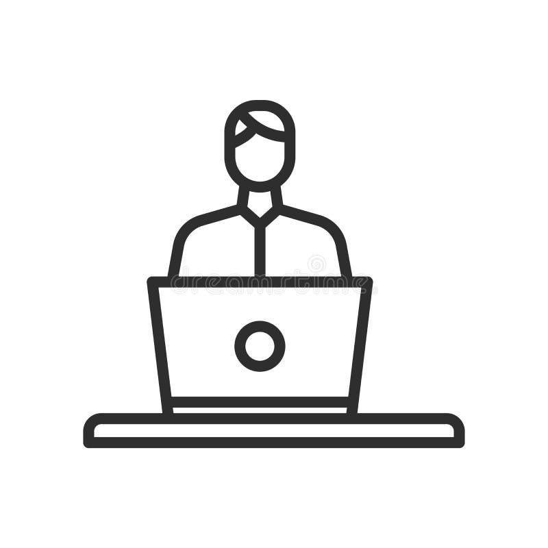 Muestra de computadora personal y del trabajador del icono del vector y aislante del símbolo ilustración del vector