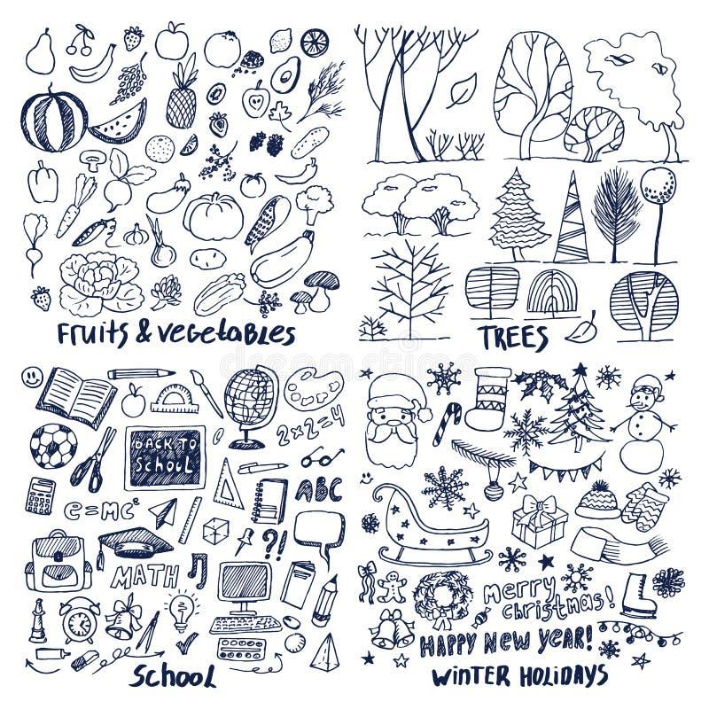 Muestra de cuatro disposiciones de día de fiesta de escuela de los árboles frutales libre illustration