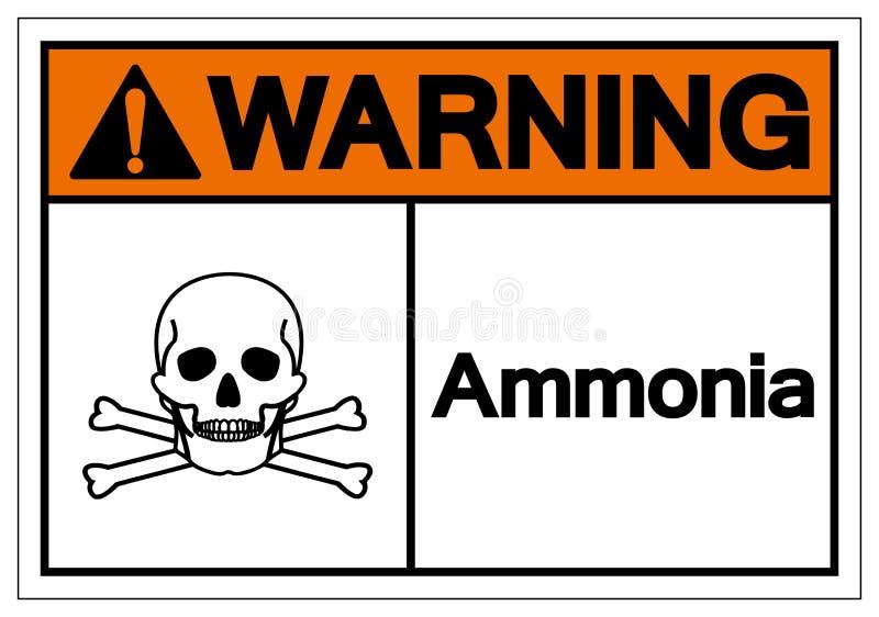 Muestra de cuidado del símbolo del amoníaco, ejemplo del vector, aislante en la etiqueta blanca del fondo EPS10 ilustración del vector