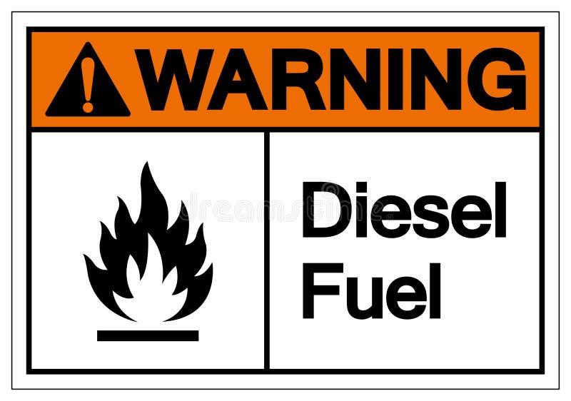 Muestra de cuidado del s?mbolo del combustible diesel, ejemplo del vector, aislante en la etiqueta blanca del fondo EPS10 stock de ilustración
