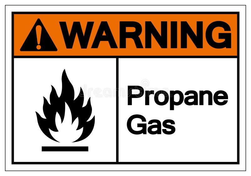 Muestra de cuidado del símbolo del gas del propano, ejemplo del vector, aislante en la etiqueta blanca del fondo EPS10 ilustración del vector