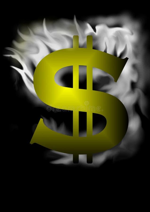 Muestra de dólar con efecto del humo ilustración del vector