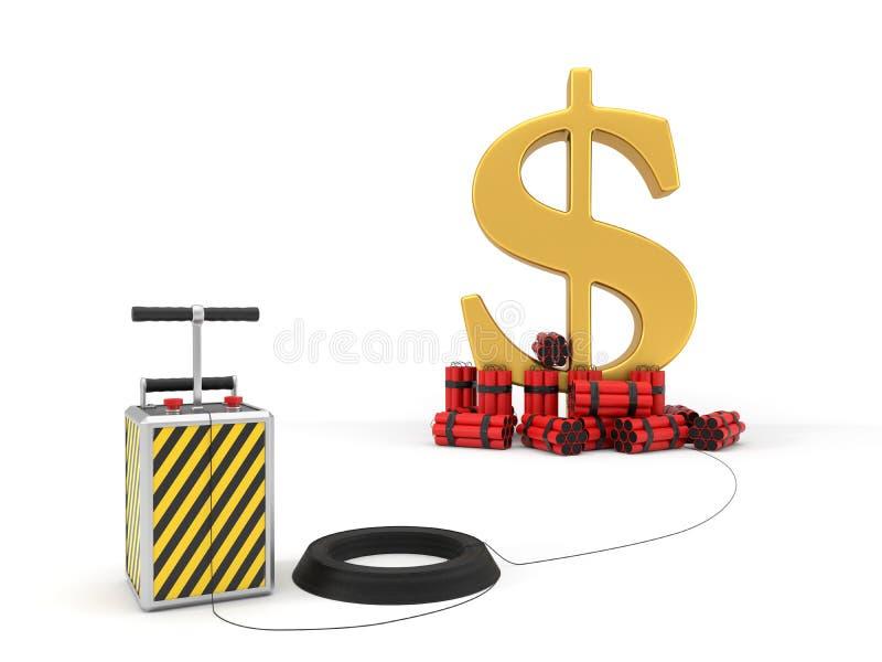 Muestra de dólar con el paquete y el detenator de la dinamita ilustración 3D stock de ilustración