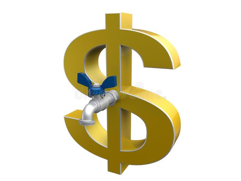 Muestra de dólar con un concepto del golpecito ilustración del vector