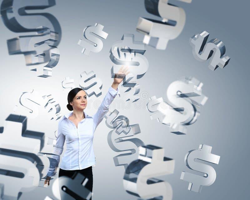 Muestra de dólar conmovedora de la mujer stock de ilustración