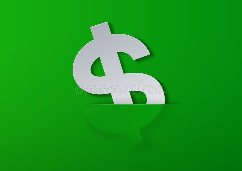 Muestra de dólar cortada del Libro Blanco en fondo verde stock de ilustración