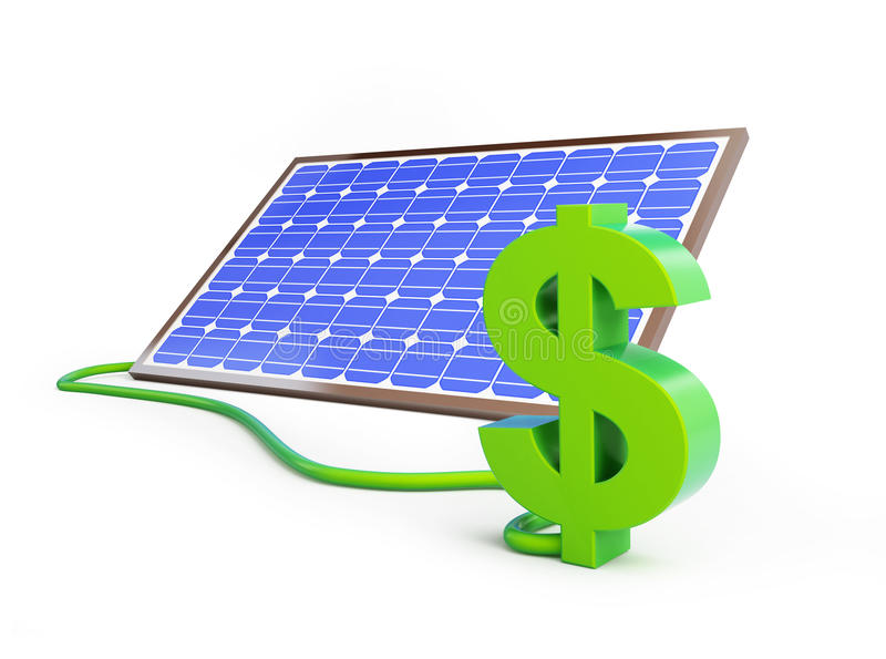 Muestra de dólar del panel solar stock de ilustración
