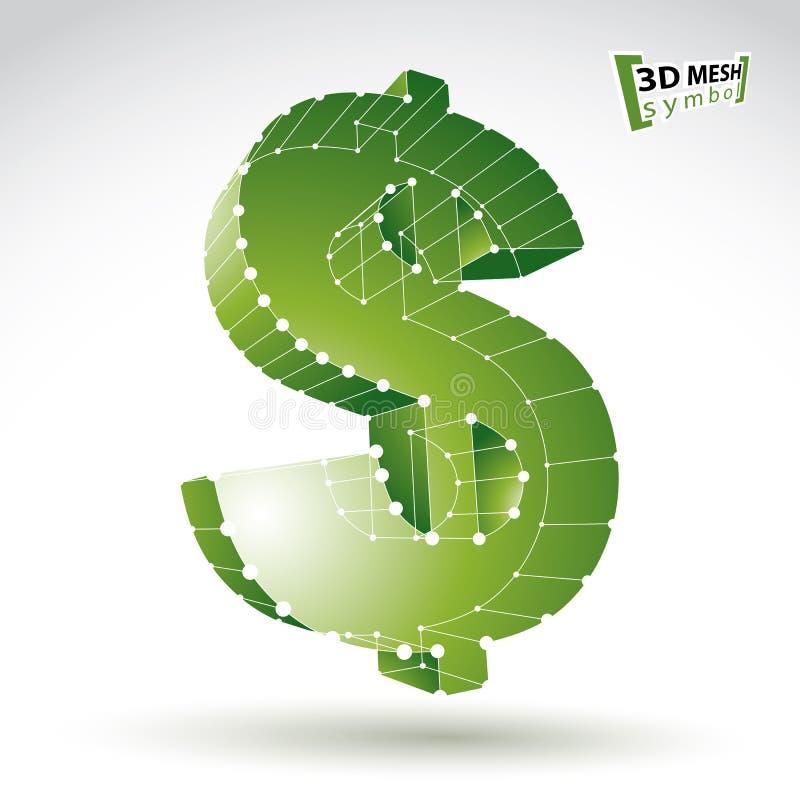 muestra de dólar elegante del verde del web de la malla 3d aislada en el backgrou blanco stock de ilustración