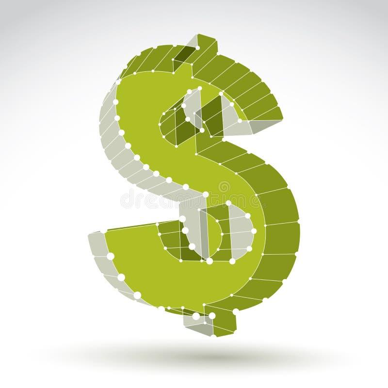 muestra de dólar elegante del verde del web de la malla 3d aislada en el backgrou blanco libre illustration
