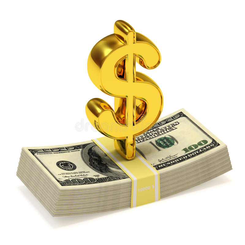 Muestra de dólar y manojo de dinero stock de ilustración