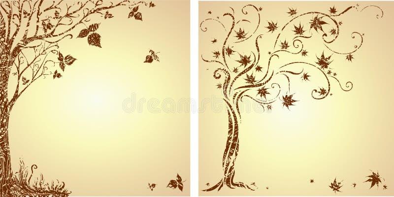 Muestra de diseño con el árbol decorativo stock de ilustración