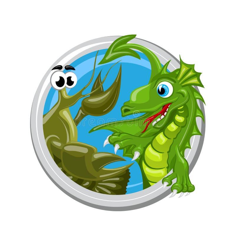 Muestra de Dragon Cancer Zodiac ilustración del vector