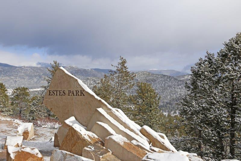 Muestra de Estes Park Estados, montañas foto de archivo