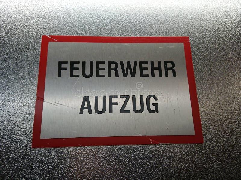 Muestra de Feuerwehr Aufzug del alemán fotos de archivo libres de regalías