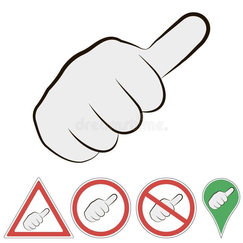 Muestra de hacer autostop la mano con el finger al top, muestra del vector de un puño de paso del coche con el finger al top ilustración del vector