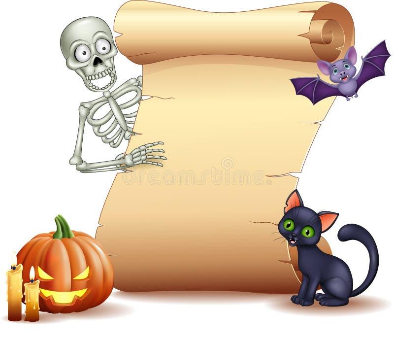 Muestra de Halloween con el esqueleto, el palo, la calabaza y el gato negro stock de ilustración