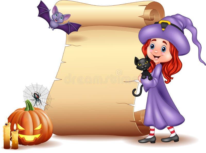 Muestra de Halloween con la pequeña bruja, el palo, la araña, las velas, la calabaza y el gato negro stock de ilustración