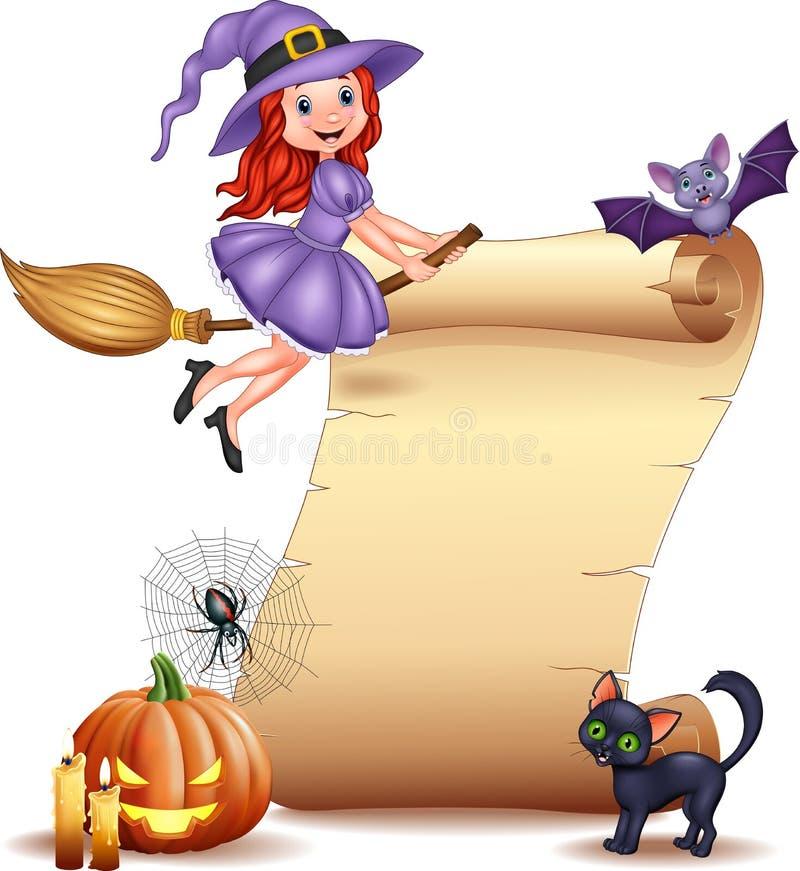 Muestra de Halloween con la pequeña bruja, el palo, la araña, el web, las velas, la calabaza y el gato negro libre illustration