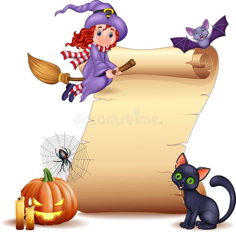 Muestra de Halloween con la pequeña bruja, el palo, la araña, el web, las velas, la calabaza y el gato negro stock de ilustración