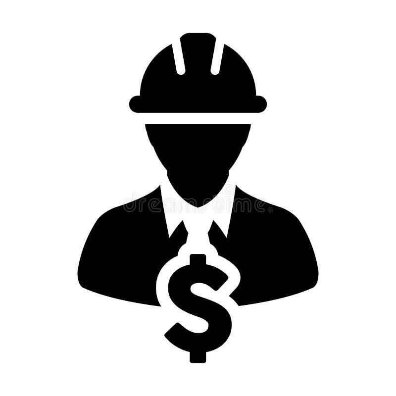 Muestra de Icon Vector Dollar del trabajador de construcción con el casco masculino de Person Profile Avatar With Hardhat en el e libre illustration