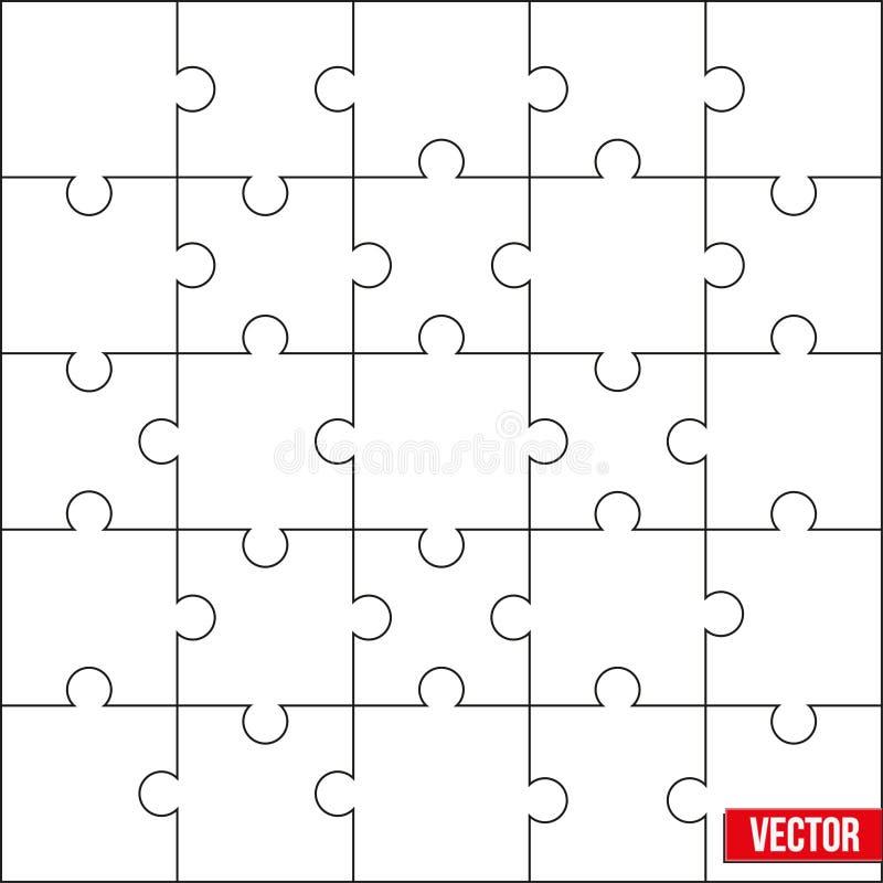Muestra de instrucciones cuadradas de la plantilla o del corte del espacio en blanco del rompecabezas. Vector. stock de ilustración